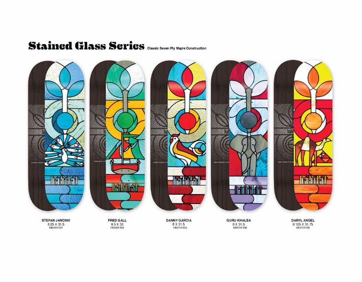 Chris Hsu Illustration: Habitat Skateboards: Stained Glass Series