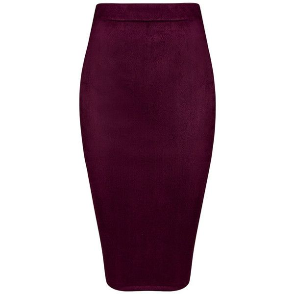 Honey couture colette suede look burgundy pencil zip skirt (£125) ❤ liked on Polyvore featuring skirts, burgundy pencil skirt, sexy skirt, knee length pencil skirt, purple skirt and zipper skirt