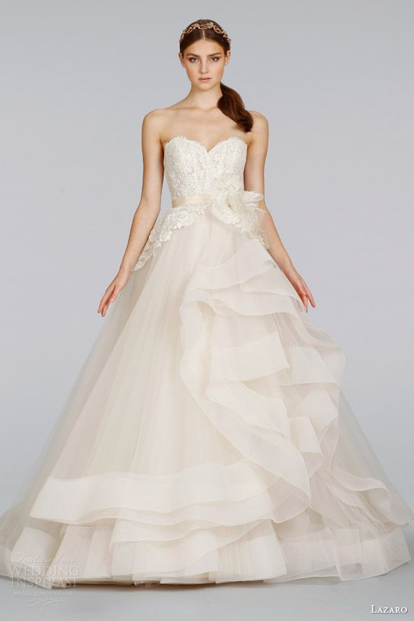 lazaro bridal wedding dresses spring 2014 champagne tulle strapless ball gown style 3413