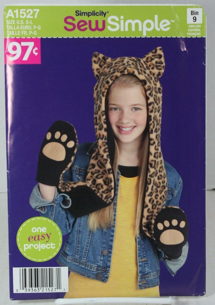 Simplicity Sew Simple A1527 Sewing Pattern Animal Pet Hat Paw Hand Warmers Mits | eBay