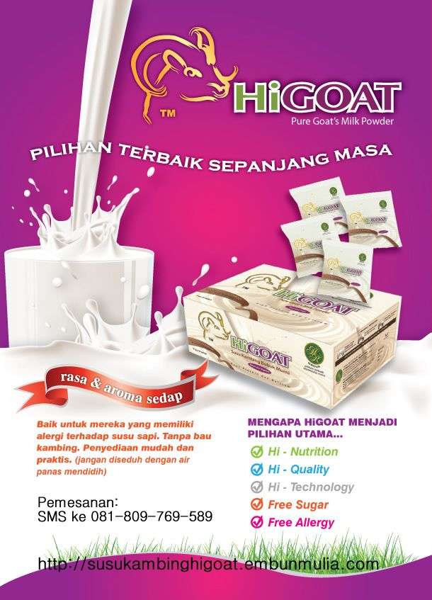 Susu kambing higoat merupakan produk susu kambing yang tidak baru, dikemas dalam sachet. Terdapat 3 varian susu kambing higoat. Pesan 081-809-769-589 (XL)