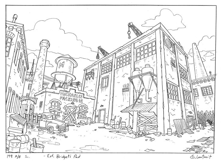 Artwork by Steve Lowtwait - Backgrounds must support the narrative of the story. Designers take into account things like the personal style of characters or the economic state of imaginary neighborhoods. They draw places that have history, like showing what has happened previously in a location, even if we never saw it happen, or the history of a place long before the characters existed.
