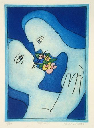 Charles Blackman  The kiss  etching  29 x 20.5 cm