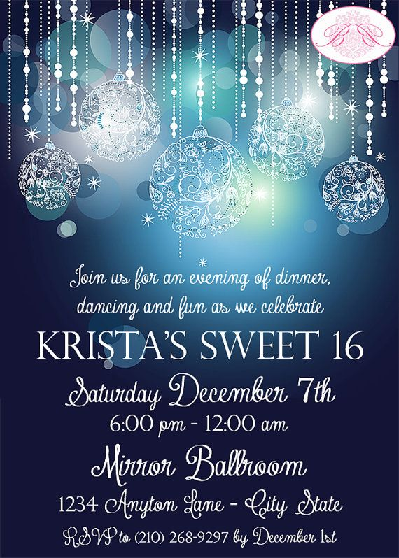 Sweet 16 Birthday Party Invitation Blue by BoogieBearInvitation, $12.00
