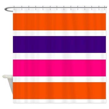Neon orange, deep purple, hot pink and white horizontal stripes shower curtain #hotpink #bathroomaccessories