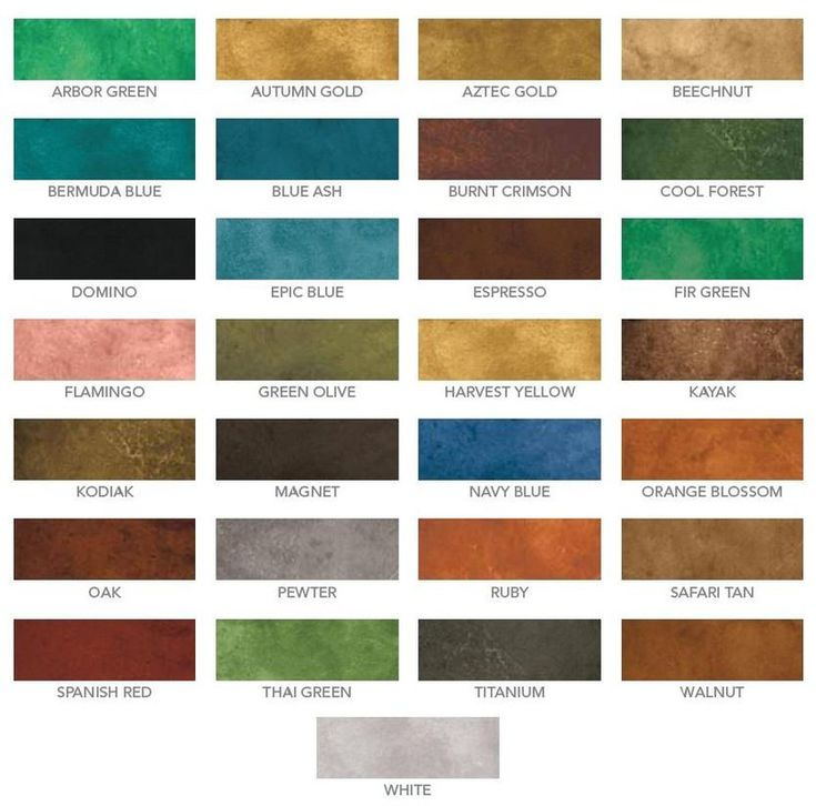 Eco-Stain- Concrete Stain water based color chart