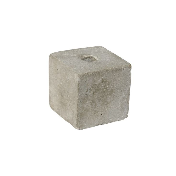 Cement block f candle, grey