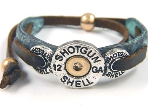 Cowgirl+12+Gauge+Shot+Gun+Shell+Leather+on+Patina+Tie+Bracelet