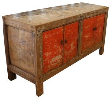 Malibu Buffet in Vintage Orange - eclectic - buffets and sideboards - Mortise & Tenon Custom Furniture Store - use something like this in bath to set trough sink on