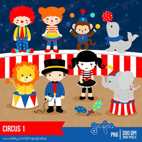 CIRCUS 1 Digital Clipart, Circus Clipart, Clown Clipart / Instant Download