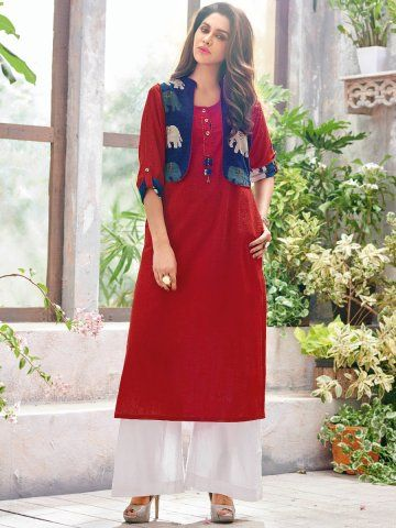 Retro Red & Blue Cotton Linen Kurti with Jacket