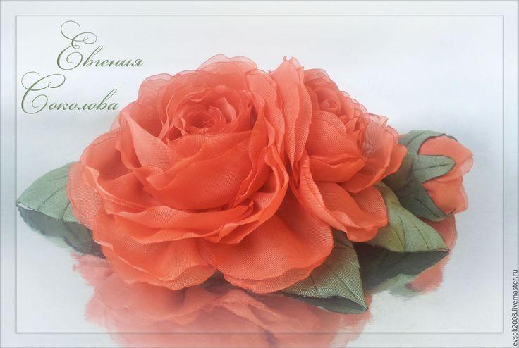 Купить Цветы в причёску Коралловые розы - свадебные аксессуары, для свадьбы, для свадебной прически, handmade