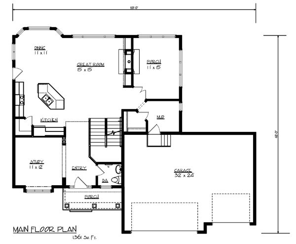 Cottage Craftsman Traditional Level One of Plan 99384