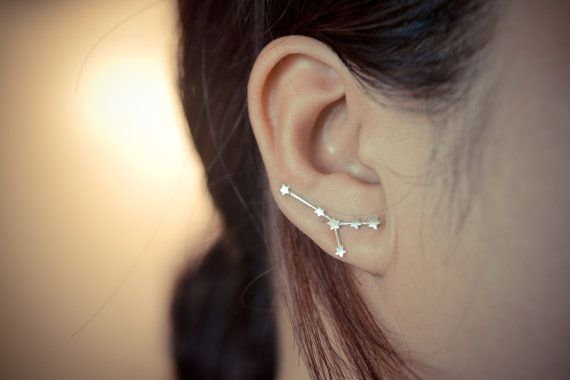 Cancer zodiac constellation sterling silver ear earring pins/cuffs