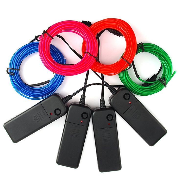 Zitrades EL Wire Portable 15ft electroluminescent wire Blue Green Red Pink El Wire Kit 4 Modes Battery Operated For Party Indoor Outdoor Decoration *** More infor at the link of image  : Garden Christmas Decorations