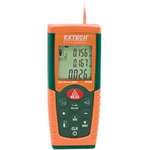 """http://handinstrument.se/special-matare-r965/laseravstandsmatare-30m-53-DT200-r34598  Laseravståndsmätare 30m  Mäter från 0,05 till 35m (2 """"till 115 ')  Lasermätning noggrannhet på 0.08 inches på 32 meter  Historisk Förvaring påminner om de föregående 10 poster (mätningar eller beräknade resultat)  Automatiskt beräknar Area och volym  Indirekt mätning med Pythagoras sats  Kontinuerlig mätfunktion med Min / Max avstånd spårning uppdateringar var 5 sekunder  Addition / subtraktion..."""