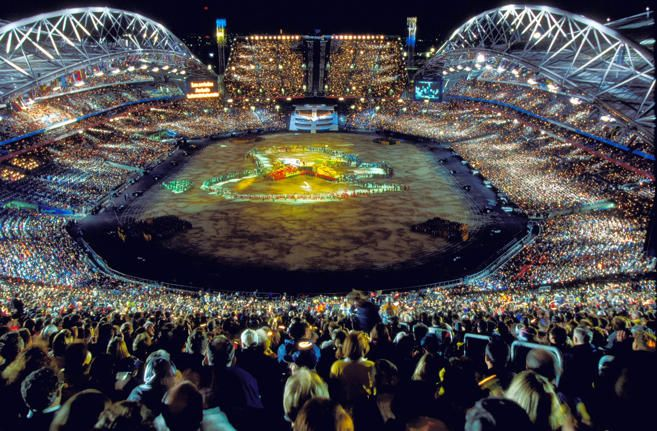 A general view from the Opening Ceremony of the Sydney 2000 Olympic Games at the Olympic Stadium in Homebush Bay, Sydney, Australia. Mandatory Credit: Mike Powell/Allsport