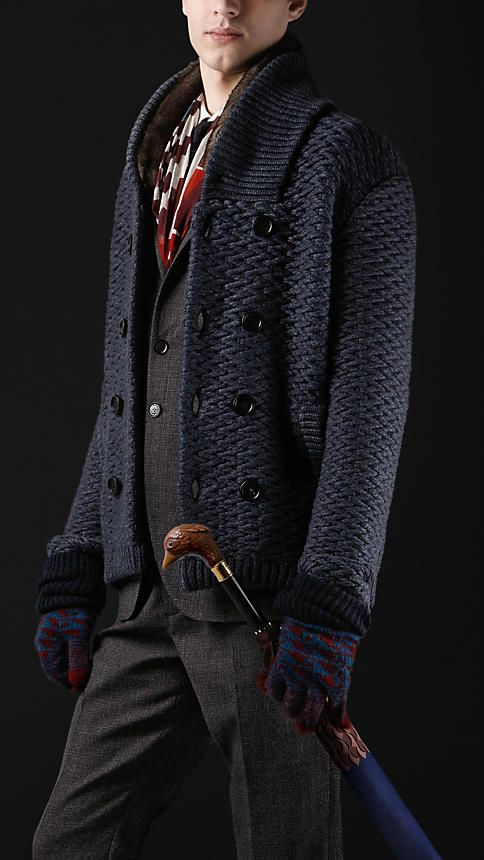 Shawl Collar Knitted Pea Coat | Burberry