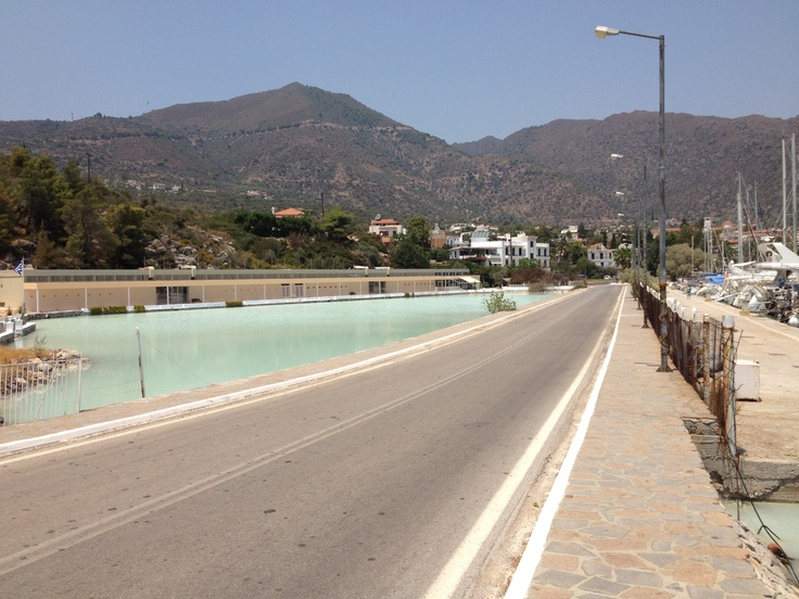 road over hot springs, methana, Greece