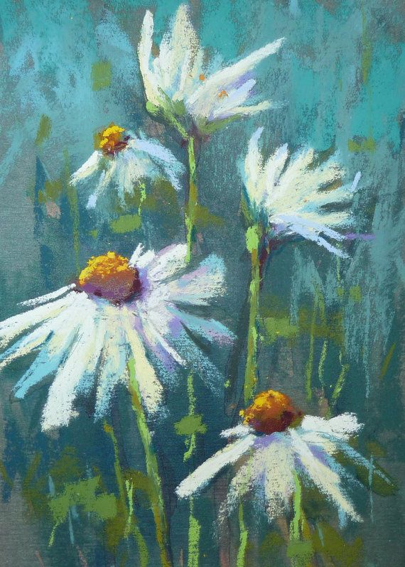 White Daisies on Blue  5x7 Original Pastel by Karen Margulis