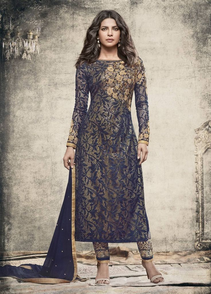 Priyanka Blue and Gold Embroidered Pant Style Suit