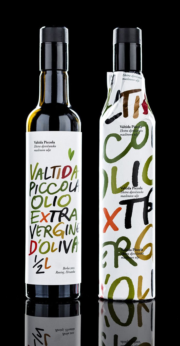 Olive oil packaging botella letras