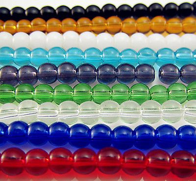 200PCS Glass Mixed color Round Loose beads charms Spacer findings 4mm