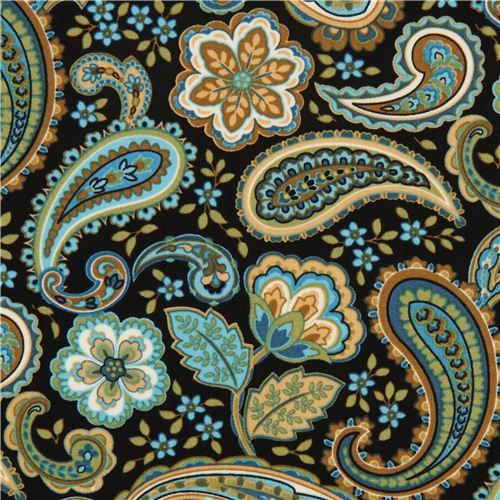 black flower fabric with paisley by Timeless Treasures