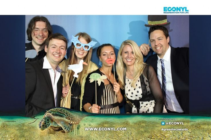 Photo Booth - ECONYL® at the GreenTec Awards 2015 in Berlin. The Green Carpet was made by Vorwerk using ECONYL® regenerated yarn coming from fishing nets, old carpets and other pre-consumer waste. At the event we had also a photo booth with funny props inspired by our regeneration of carpets, nets and by the marine world we are fighting to save. #ethical #fashion and #design#sustainability