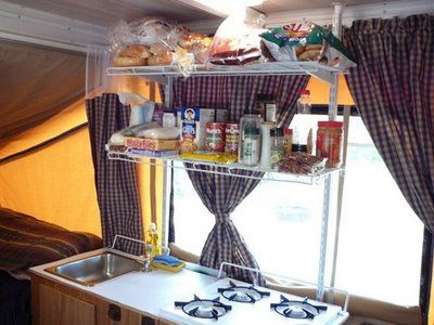 Kitchen Shelf Mod for Pop Up Camper (obviously we don't need it to collapse, but a good idea for us to base one of our own on)
