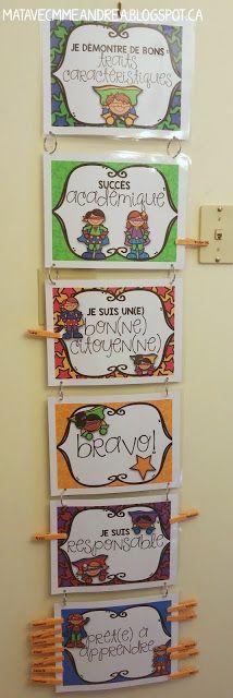 A NEW kind of clip chart! Use it with French brag tags   échelle de comportement à utiliser avec les billets de fierté   GRATUIT - freebie!