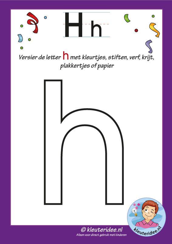 Pakket over de letter h blad 4, versier de letter h, letters aanbieden aan kleuters, kleuteridee, free printable.