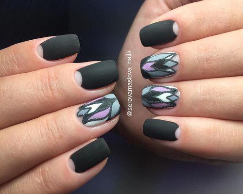 идея дизайна ногтей матовый рисунок