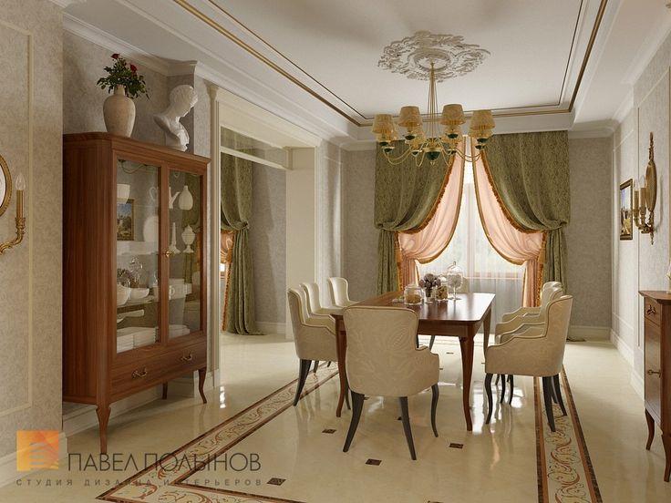 Фото: Дизайн столовой - Интерьер загородного дома в стиле легкой классики, КП «Альпино», 430 кв.м.