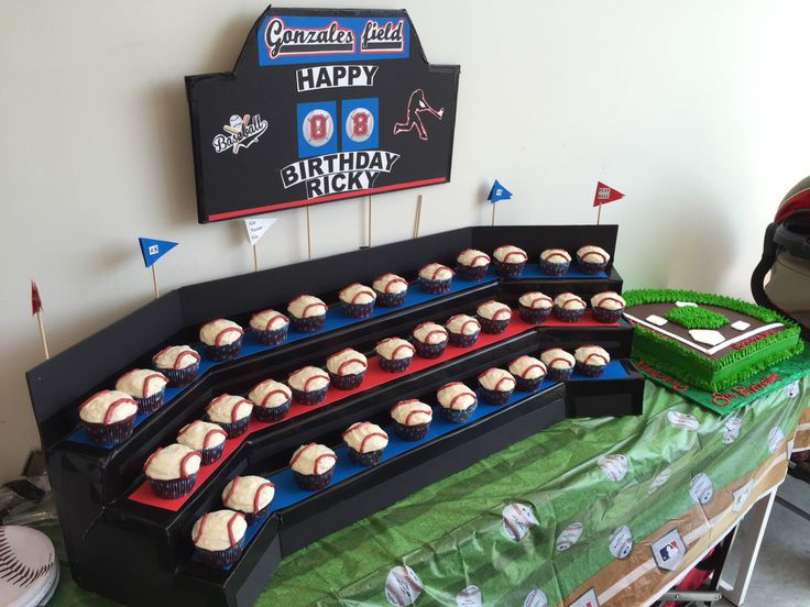 My son's birthday day baseball themed cupcake stand