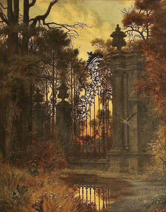 Фердинанд Кнаб (1834-1902). Ворота в парке. Вечернее настроение. 1896