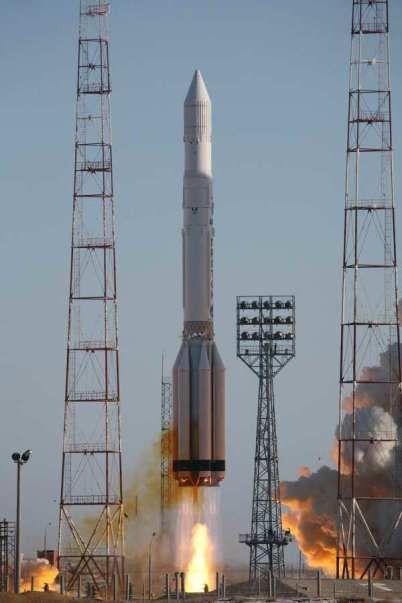 A Russian Proton rocket launches a new military satellite from Baikonur Cosmodrome , Kazakstan on Feb. 28, 2009.