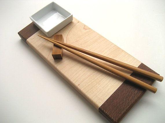 Sushi Board - Handmade - Complete Sushi Board Set - Chopsticks - Chopstick Rest - Wasabi Dish - Gourmet Gift Set