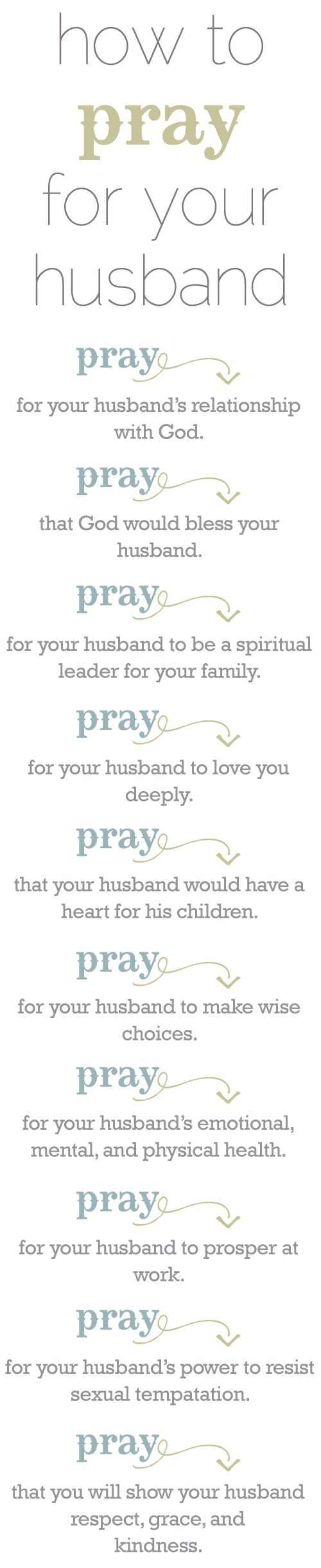 Good prayer ideas for me for my husband