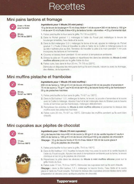 Fiche recette Moule à mini muffins 2/2 - Les Sœurs Tupp' - Tupperware : mini pains lardons fromage, mini muffins pistache framboise, mini cupcakes aux pépites de chocolat.