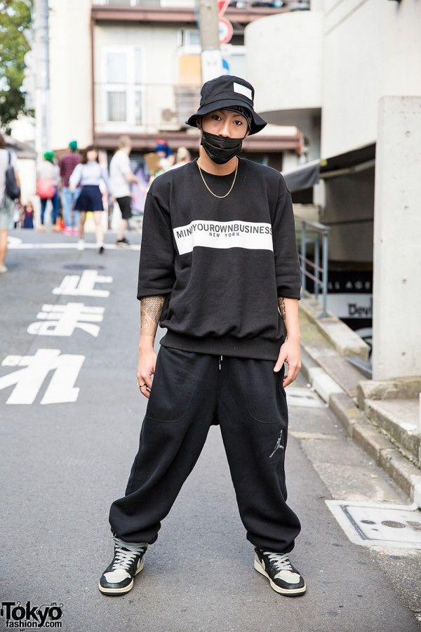 3a084b1bd34 Here s a tattooed and pierced  Harajuku guy who we see around the streets  often. His look features a bucket hat and sweatshirt …