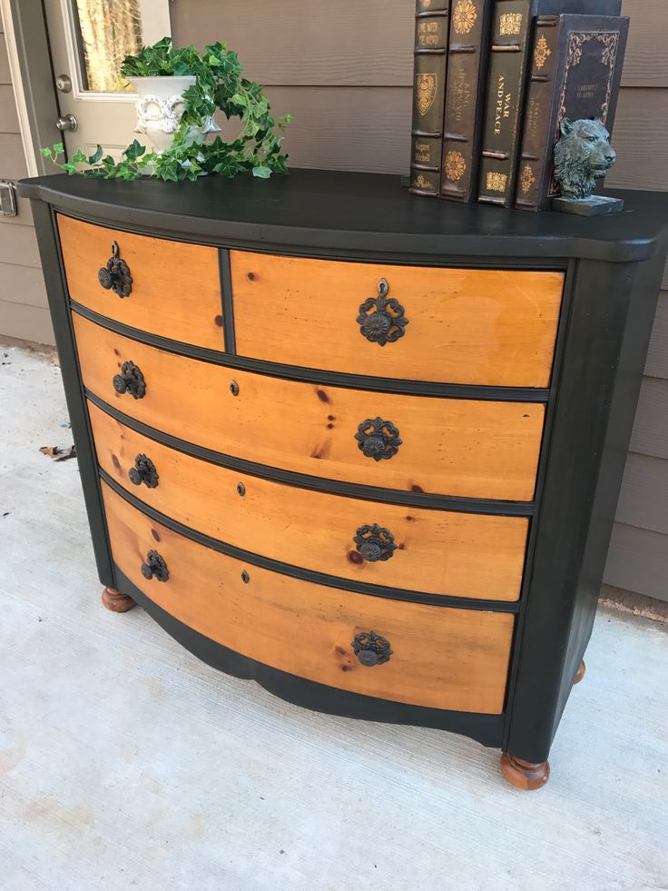 Dresser Frame Painted In Annie Sloan Chalk Paint Color Graphite And Sealed  With AS Dark Wax