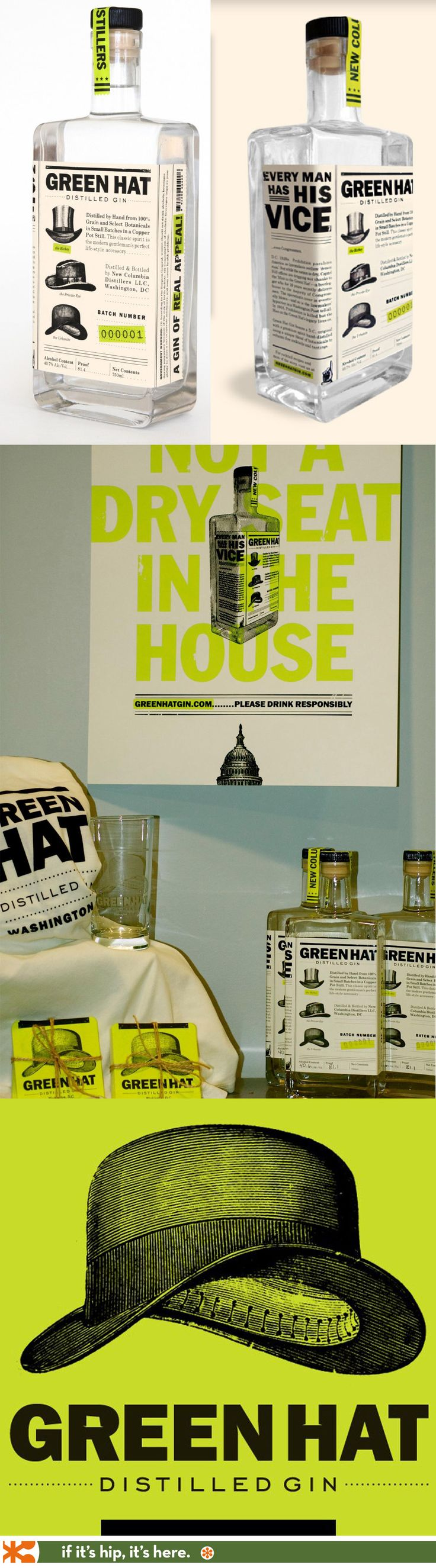 Green Hat Gin's beautiful bottle design and branding.