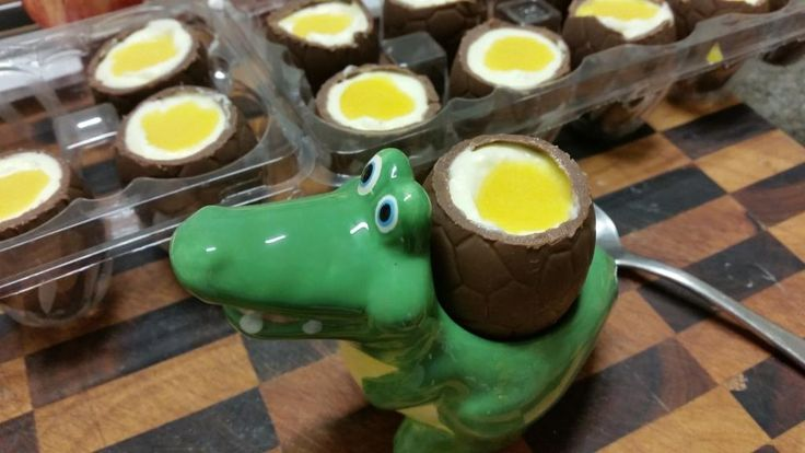 White Chocolate Mousse and curd Easter Eggs