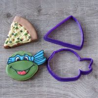 "Cookie cutter ""Ninja turtle and pizza"""
