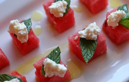 Watermelon salad... Love the plating... But i want a vinaigrette ...
