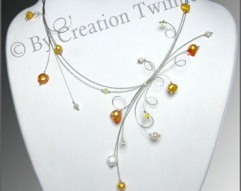 Blue Collar, collar de damas de honor, delicados remolinos, idea de regalo de Navidad, evening collar, joyería funky, regalo de madre    Tipo: