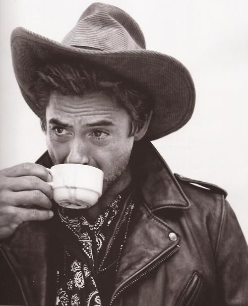 Robert Downey Jr. drinking coffee