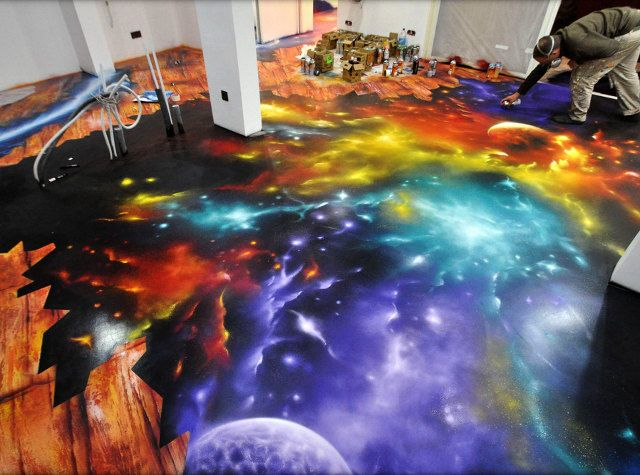 Entire Floor Painted Like You're Falling Into Space