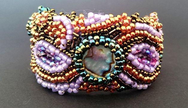 Branosletka z koralików z masą perłową - Cristallin - Bransoletki z koralików